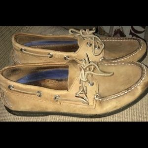 Sperry Top Siders 8.5 Brushed Leather EUC DETAILS